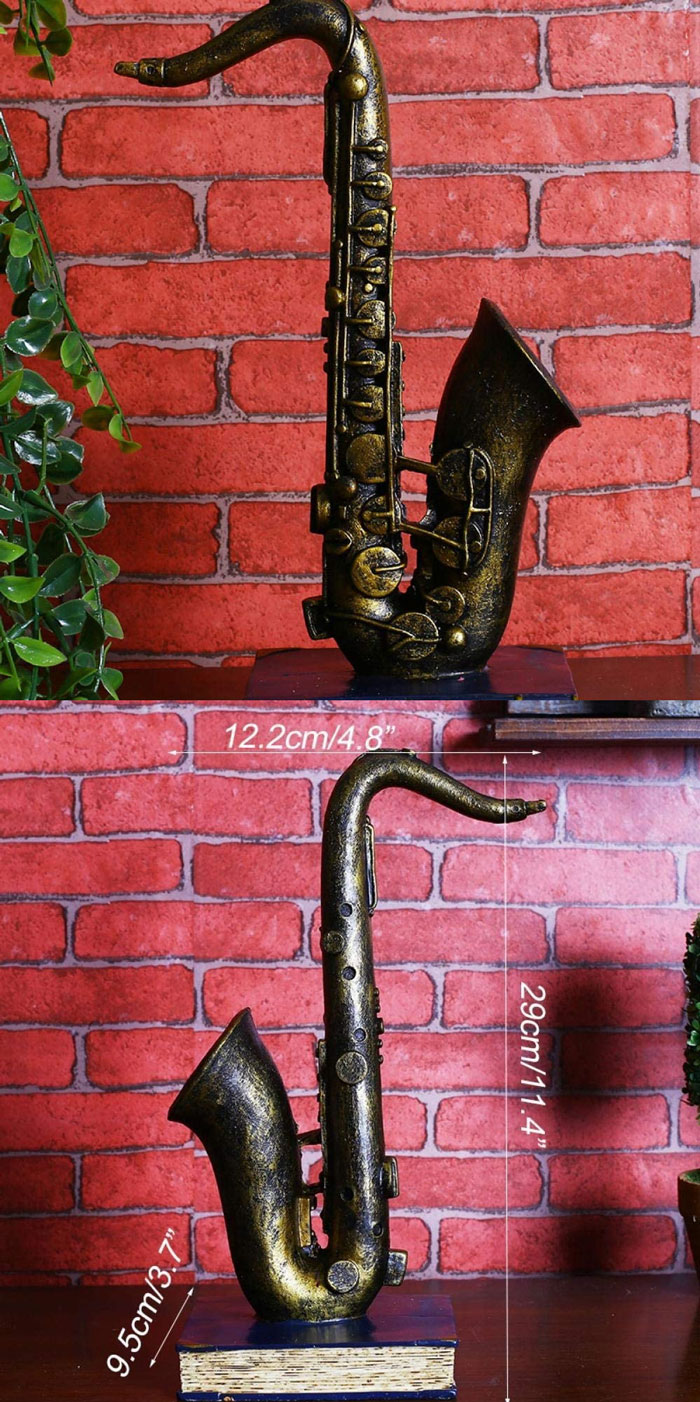 Statues Ornament Sculpture Statue Decorative Sculpture Retro Miniature Musical Instruments Resin Crafts Vintage Cube Horn Trumpet Model Musical