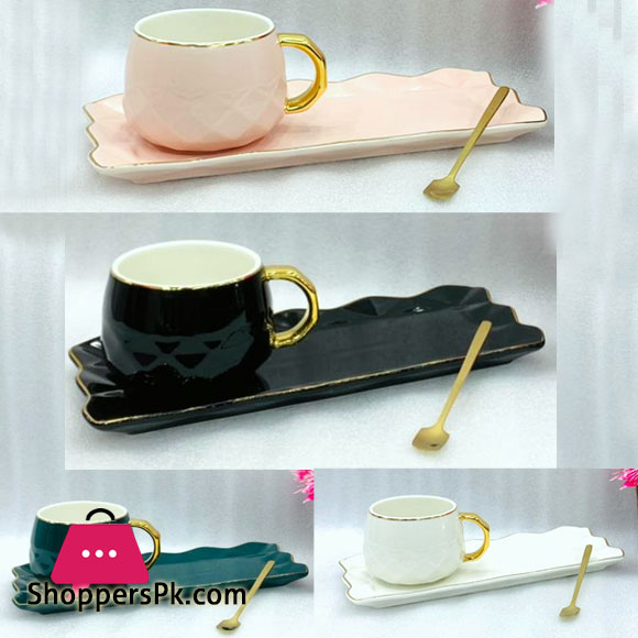 Thai Gold Rim Cup & Saucer With Golden Spoon