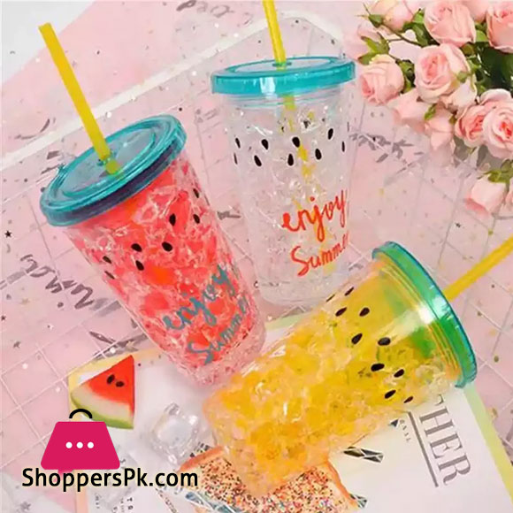 450ml Cute Double Plastic Watermelon Ice with Straw Cooling Fruit Bottle Drinkware Enjoy Summer