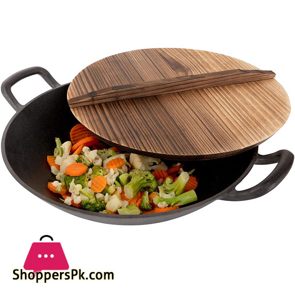 Cast Iron Wok with 2 Handled and Wooden Lid (34-CM)