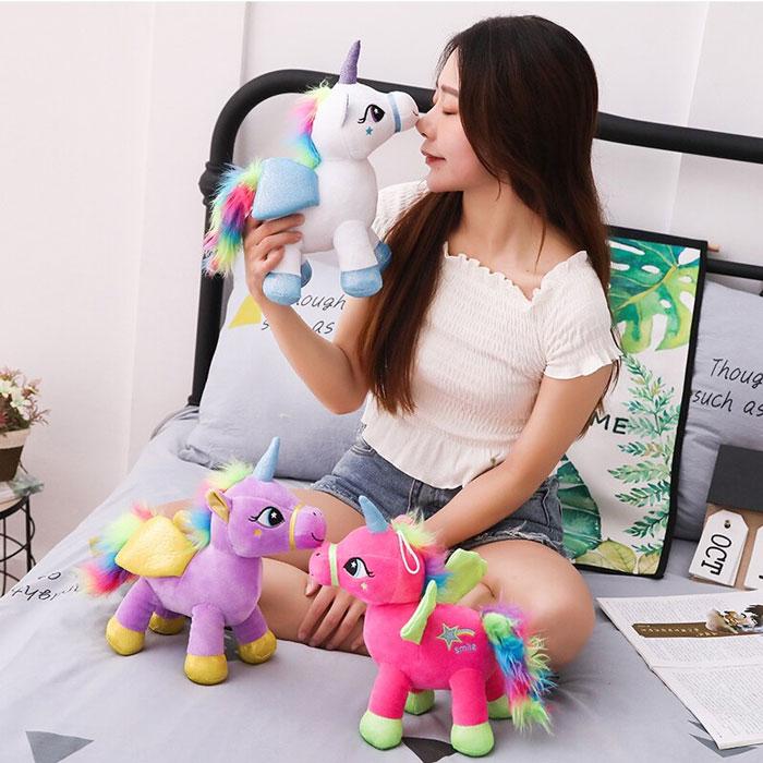 Cute Rainbow Unicorn Plush Toy Cartoon Angel Horse 30 CM 1 Pcs