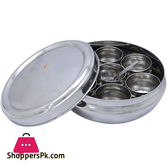 Indian Masala Dabba Stainless Steel 7 Container Kitchen Spice Storage Box