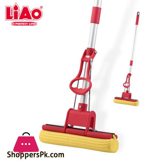 LIAO Aluminum Stick PVA Floor Mop Absorbent Sponge Squeeze Mop Cleaning Tool Home Bathroom Kitchen Clean Dust Mop - A130004