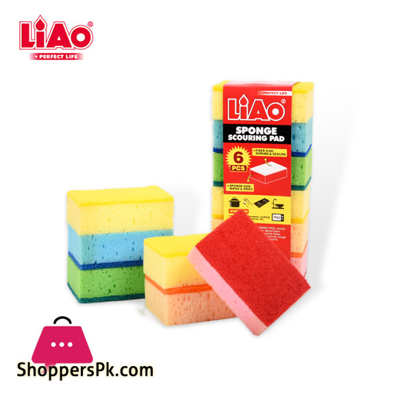 LIAO Eco Friendly Kitchen Dish Colorful Sponge Scouring Pad Scrubber Cleaning Sponge H130039