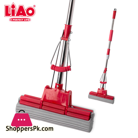 LIAO Stainless Steel Stick PVA Floor Mop Absorbent Sponge Squeeze Mop Cleaning Tool Home Bathroom Kitchen Clean Dust Mop - A130053