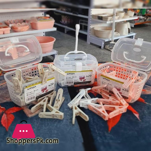 LIMON Clothes Dryers Clips Clothes Pegs with Basket