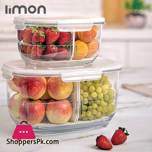 Limon Refrigerator Storage 2 Section Jar - 800ML
