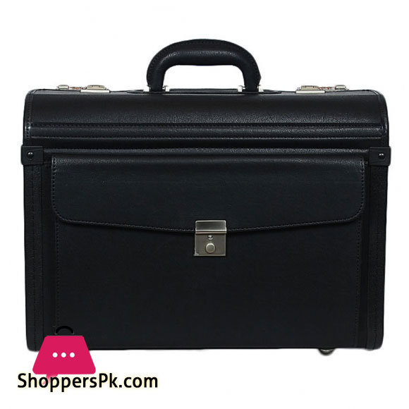 SWISS LAPTOP TROLLEY BAG LEATHER TEXTURE