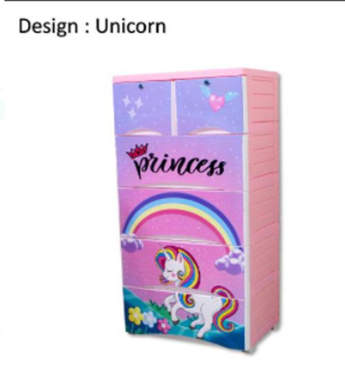 Plastic Drawers Cabinet Unicorn Drawer 4+2