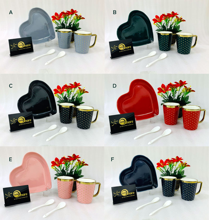 ONE MORE Heart Shaped Couple Ceramic Mug Gold Rim with Spoon Gift Box 1 Pair