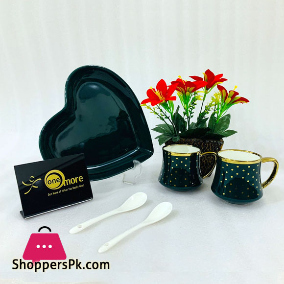 ONE MORE Heart Couple Ceramic Mug Gold Rim with Spoon Gift Box 1 Pair - Green