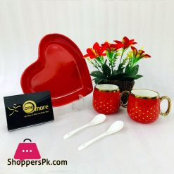 ONE MORE Heart Couple Ceramic Mug Gold Rim with Spoon Gift Box 1 Pair