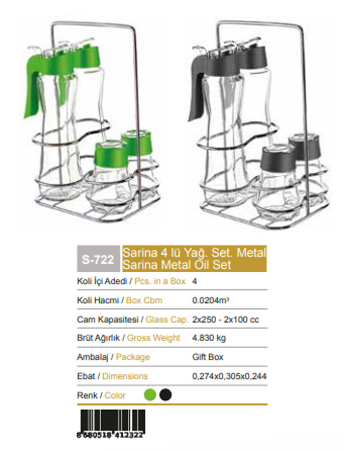 Sarina Metal Glass Oil Set - S-722 - Turkey Made