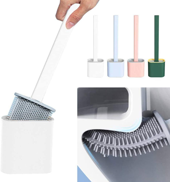 Silicone Antibacterial Toilet Brush With Holder Deep-Cleaning
