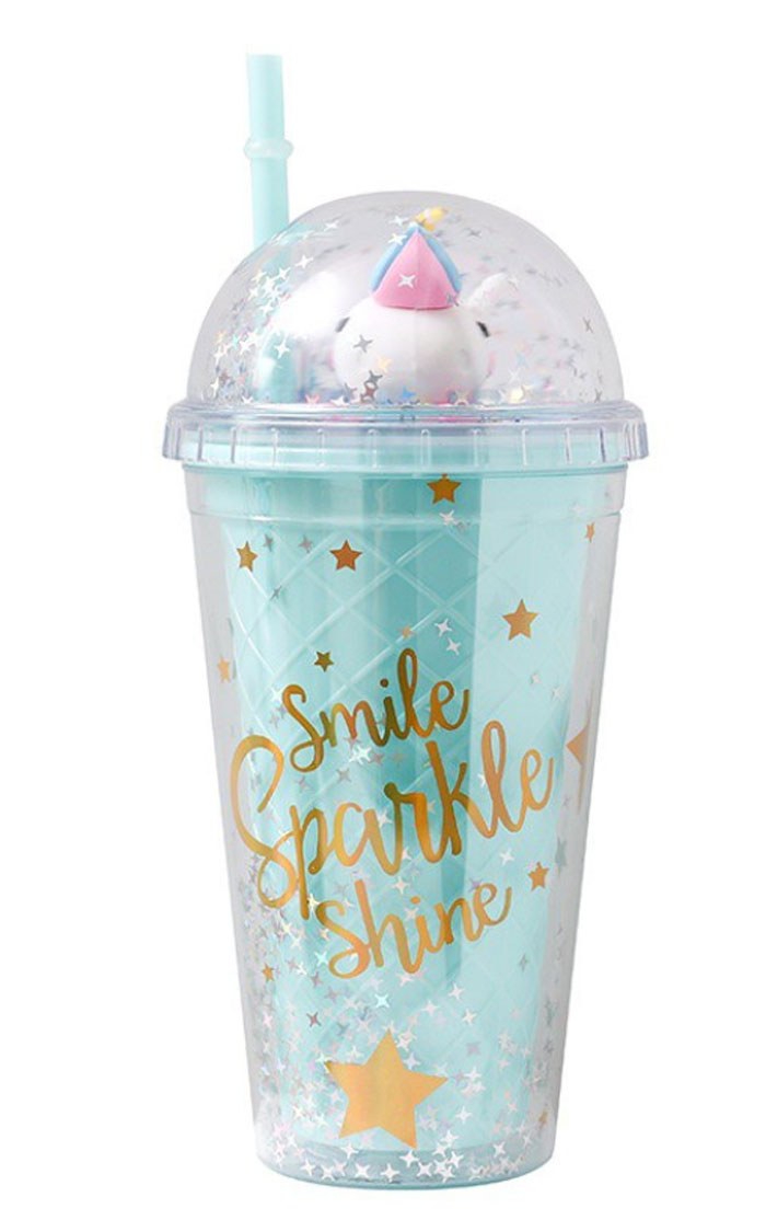 Unicorn Cartoon Straw Cup Double Layer 500ml