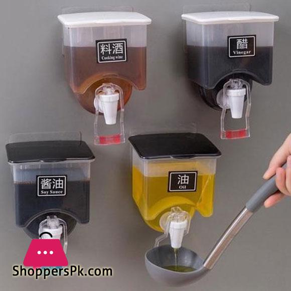 Wall Mounted Oil Bottle Liquid Spice Jar Vinegar Dispenser BBQ Cooking Baking Accessories Kitchen Seasoning Organizer Punch Free 1-Pcs